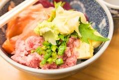 Japanese food- Salmon and negitoro tuna on rice Royalty Free Stock Photos
