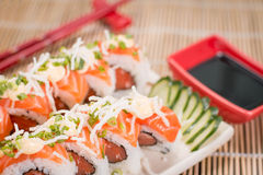 Japanese Food Salmon Roll. Japanese food, Japanese restaurant, oriental food Royalty Free Stock Photography