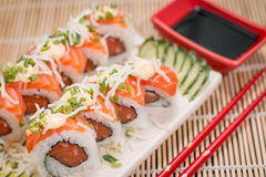 Japanese Food Salmon Roll. Japanese food, Japanese restaurant, oriental food Stock Photography
