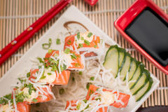 Japanese Food Salmon Roll. Japanese food, Japanese restaurant, oriental food Royalty Free Stock Images