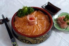 Japanese Food, Salmon Sahimi. Japanese Food,  Menu of Salmon Sashimi in Wooden Bowl Stock Photography