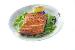 Japanese Food, Salmon Steak. Japanese Food, Plate of Grilled Salmon Steak PS-43471 Stock Photography
