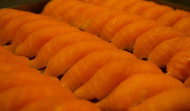 Japanese food salmon sushi maki. Food healty salmon sushi maki royalty free stock photo