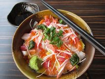 Japanese food: sashimi with rice Stock Images