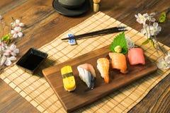 Japanese food. Sashimi Sushi set Royalty Free Stock Photo