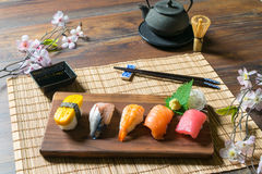 Japanese food Sashimi Sushi set. On Traditional Japan Table Stock Image