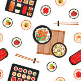 Japanese Food. Sea Food. Sushi Background. Seamless Pattern Royalty Free Stock Photo