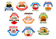 Japanese food and seafood restaurant emblems. Sushi, rolls, seafood, salmon and sashimi, wasabi and steamed rice, bamboo, chopsticks and tea. Oriental cuisine Stock Images