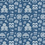 Japanese food seamless flat vector pattern background. Sushi icons set texture Stock Photo