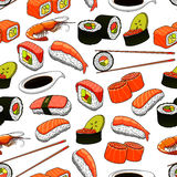 Japanese food seamless pattern background Stock Images