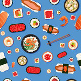 Japanese Food Seamless Pattern with Sushi Royalty Free Stock Photography