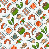 Japanese food seamless pattern with thin line icon stock illustration