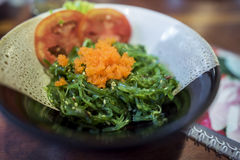 Japanese food ,seaweed salad topping with ebiko Stock Photo