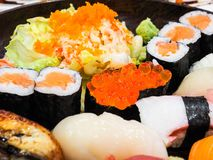 Japanese food set. Consisting of various sushi Stock Images