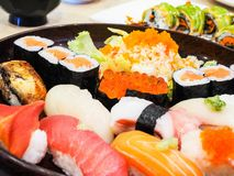 Japanese food set. Consisting of various sushi Stock Photography