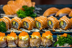Japanese food in set different types of sushi Stock Photography