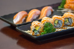 Japanese food in set different types of sushi Stock Photo