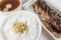 Japanese food set, Saba grilled, rice, furikake and miso soup Royalty Free Stock Photos