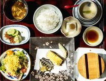 Japanese food set on the table Royalty Free Stock Images