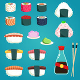 Japanese Food. Set of various different types sushi. Vector illustration Stock Photo