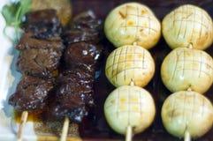 Japanese Food,  Skewers Menu. Japanese Food,  Menu of  Mixed Skewers, Yakitori Grilled Beef and Mushrooms PS-47861 Royalty Free Stock Images