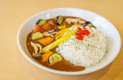 .Japanese food style curry with rice Royalty Free Stock Image