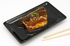 Japanese food style , Saba fish grilled with sauce Royalty Free Stock Image