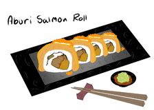 Japanese food style, Sushi salmon roll topped with salmon eggs on black plate isolated. On white background for asian restaurant menu Aburi Salmon, Hand drawn vector illustration