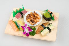 Japanese food Sushi. The content of an ordinary sushi box Royalty Free Stock Photos