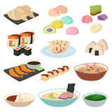 Japanese food sushi asian rice with fish traditional meal icon set and healthy seafood roll salmon cuisine gourmet Stock Images