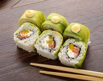 Japanese food. sushi with avocado. Sushi menu. Japanese food. Stock Photo