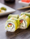 Japanese food. sushi with avocado Stock Photos