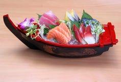 Japanese food sushi boat set design photo Royalty Free Stock Photos