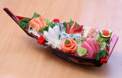 Japanese food sushi boat set design photo Royalty Free Stock Photos