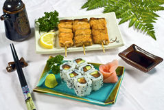 Japanese Food, Sushi California Maki Platter. Japanese Food,  Menu of 6  California Maki & 3 Grilled Salmon Skewers, PS-47940 Royalty Free Stock Image