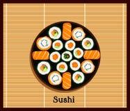 Japanese Food Sushi Design Flat Stock Image