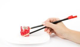 Japanese food Sushi in hand Stock Images