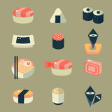 Japanese food sushi icon set Stock Photography