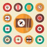 Japanese food sushi icons vector illustration set Stock Photos