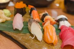 Japanese food sushi. Set on table Royalty Free Stock Images