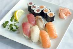 Japanese Food, Sushi & Maki. Japanese Food,  Menu Plate of 6 Sushi, 6 Maki PS-47863 Stock Photo