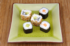 Japanese food, sushi and maki Royalty Free Stock Photos