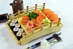 Japanese Food, Sushi Maki Platter. Japanese Food,  Platter of  Salmon Maki, Sushi, & Sashimi, PS-47941 Royalty Free Stock Photography