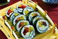 Japanese Food, Sushi Maki Platter. Japanese Food,  Sushi Menu of Mixed Futo Maki Royalty Free Stock Photo