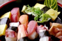 Japanese food sushi nigiri. Set a raw beautiful coloful meal of japan Stock Image