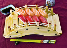 Japanese Food, Sushi Platter. Japanese Food,  Platter of Salmon and Tuna Sushi Royalty Free Stock Photos