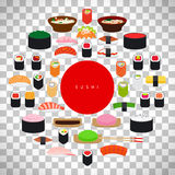 Japanese food sushi poster. Set of sushi elements  on transparent background. Vector ilustration Royalty Free Stock Image