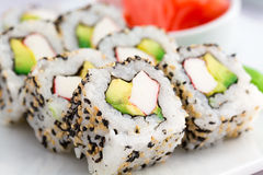 Japanese Food- Sushi Roll-Californian Style Stock Photos