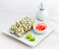 Japanese Food- Sushi Roll- Californian Style. Japanese food Sushi Roll, californian style with black and white sesame on a white dish with green wasabi and Stock Image