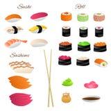 Japanese food sushi roll set illustration Stock Photography